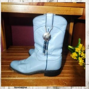 Justin Boots vintage Blue Gray Aztec Boots…